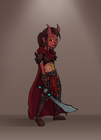 Tiefling Warrior by scribblepit