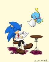 Sonic's tea break with Chao by Gatoh