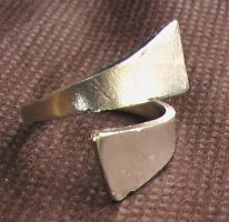 Silver-Plated Yellow-Copper Ring by Barah-Art