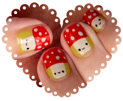 Mushrooms Nail Art by ponychops