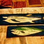 Painted Wooden Board- 2 Fish by JadasArtVision