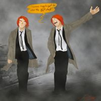 Fred and George- Lucky muggles by olafpriol