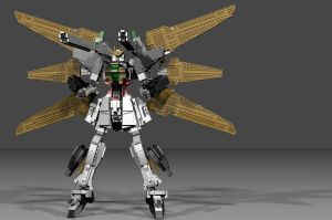 Lego Gundam Double X (POVray) by mithrylaltaire