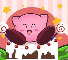 Kirby loves cake by Domestic-hedgehog
