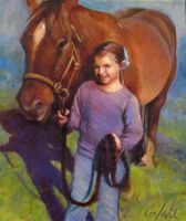 Young Girl and her Horse (commisioned portrait) by Sloppygee