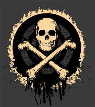 Skull and bones Threadless tee submission by SeventhSealDesigns