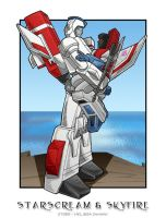 Starscream + Skyfire cliffside by WaywardInsecticon