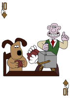 Gromit (and Wallace) on 10 of Diamonds by JenniBee