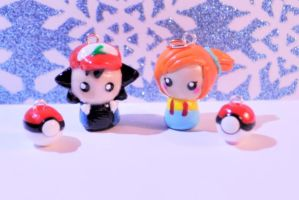 Ash and Misty Chibi Clay Charms by MissKawaiiKenzie