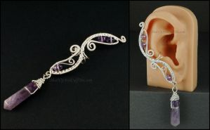 Silver and Amethyst Fairy Ear Cuff by sylva