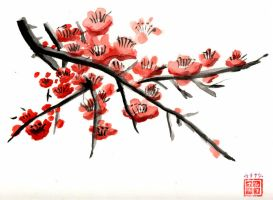 Red Plum Blossom by cazouillette