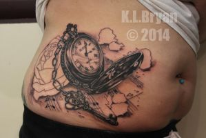 Pocket watch and rose tattoo sitting one by danktat