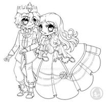 Prince Ice and Princess Ivy ::Open Lineart:: by YamPuff