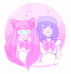 chibimoon and saturn by doodlemancy