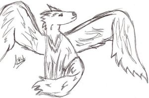 Winged Wolf by valkyriesinger