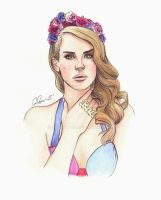 Lana Del Rey Watercolor Illustration by Charlzton