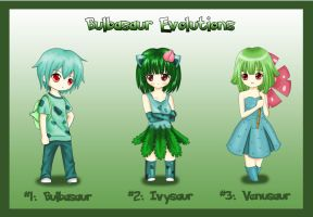 +Gijinka+ Bulbasaur Evolutions by ShadowSeason