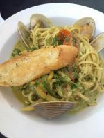 Seafood Linguine in Creamy Sauce by nosugarjustanger
