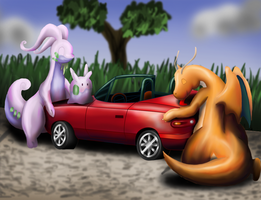 Dragon type hugging a car by sudro