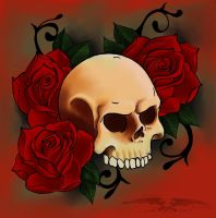 Skull+Roses by KingRedDark