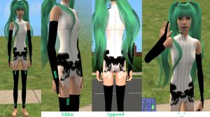 Outfit Miku Append + hair - Sims 2 Download by Cinzia-chan