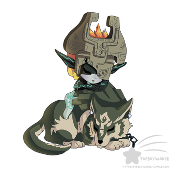 Sleepy Wolf Link And Midna by theskywaker