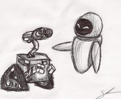 WALL E and EVE by SheaTheDestroyer