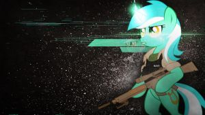 Lyra with a weapon (Wallpaper) by Amoagtasaloquendo