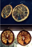 Steampunk tree Earrings by faktoria-f