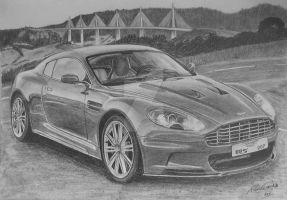 Aston Martin DBS drawing by GTracerRens