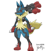 MegaLucario Drawing by SonicX908