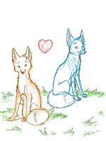 Cute foxes by Joava
