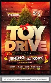 TOY DRIVE - XMAS FLYER TEMPLATE PSD by AudioNeptune