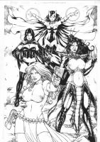 MISTIQUE, BLACK QUEEN, LADY LETAL e SCARLET WITCH by Leomatos2014