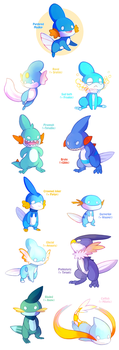 Mudkip Variations (now available in store) by HERthatDRAWS