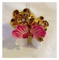 Golden flowers and Butterfly Hairpin by EruwaedhielElleth