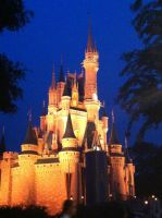 Cinderella Castle at Dusk by ShadowsoftheRose