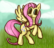 Fluttershy sketch by InkTehKitty