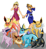 Battle Sisters - Eeveelution team by oohcoo