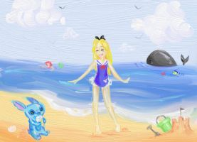 Stich and Alice at the beach by flewyesterday