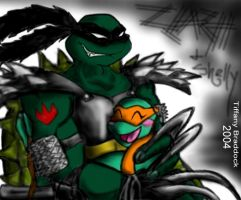 Old SlashShelly Strong Embrace by AlternateTMNT