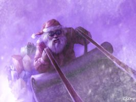 Santa sledding by RogerStork
