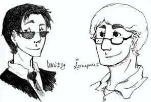 Crowley and Aziraphale by BlueCheshireCat