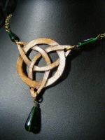 brown leather triquetra with green beads by BacktoEarthCreations
