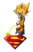Goku owns Superman by SiegKingKirby