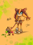 Sticks the Jungle Badger and Buster (Sonic Boom) by YamiMana