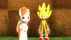 Super Sonic and Super Rainbow Dash by EquestianRacer