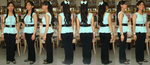 Me in aqua green and black fancy outfit in 8 views by Magic-Kristina-KW