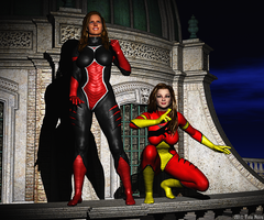 Tina and Val - Super-heroines by TNoire