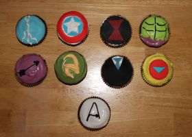 Avengers Cupcakes by FangsAndNeedles